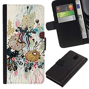 A-type (Art Leaves Composition Painting) Colorida Impresión Funda Cuero Monedero Caja Bolsa Cubierta Caja Piel Card Slots Para Samsung Galaxy Note 3 III