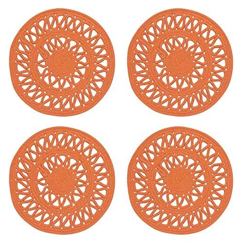 Now Designs 1039003aa Bloom Woven Round Placemets, Set of Four, Papaya Orange (Placemets)