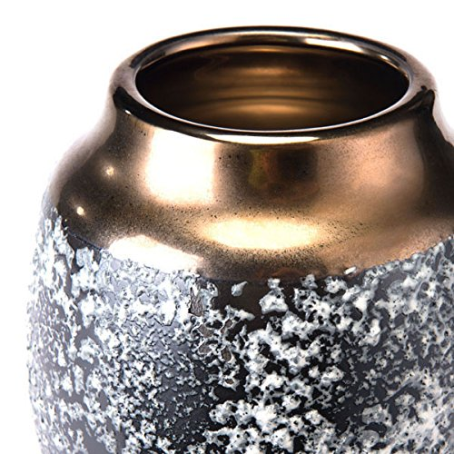 Medium Zuo Stoneware Vase Metal /& Black Ash