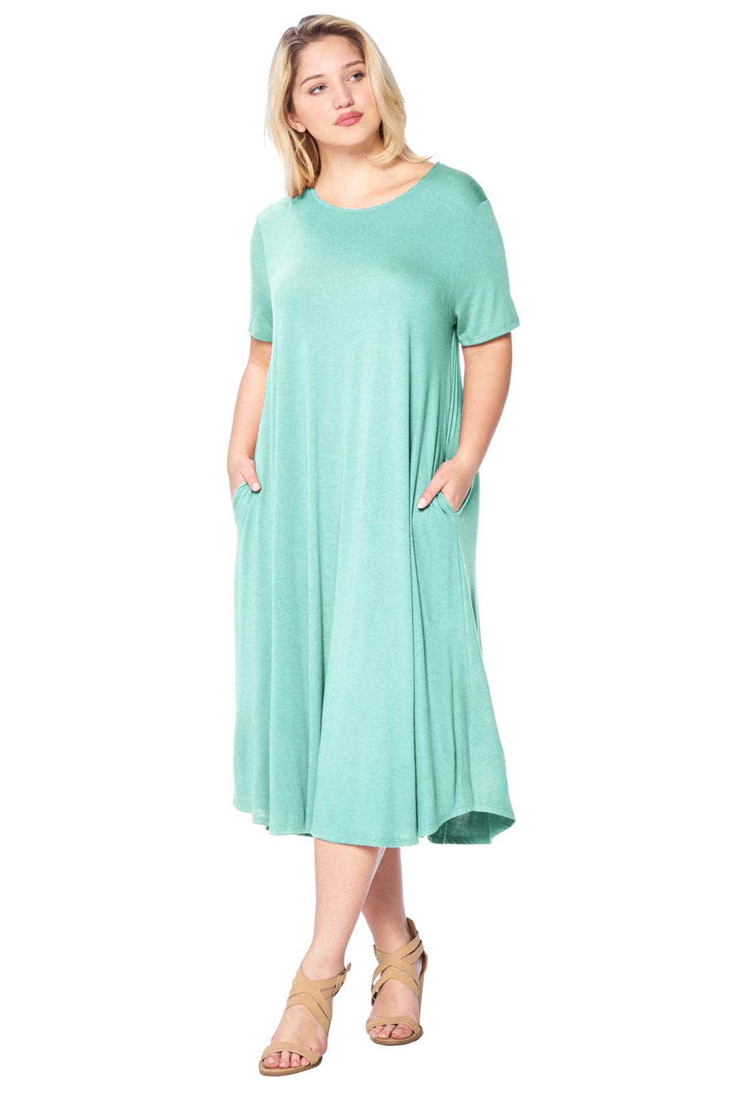 Modern Kiwi Plus Size Short Sleeve Flowy A-Line Pocket Midi ...