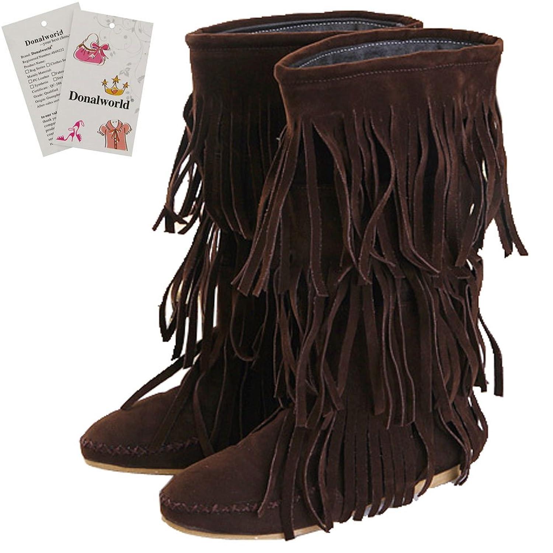 Women Tassel Shoes Round Closed Toe Hidden Heel Boots