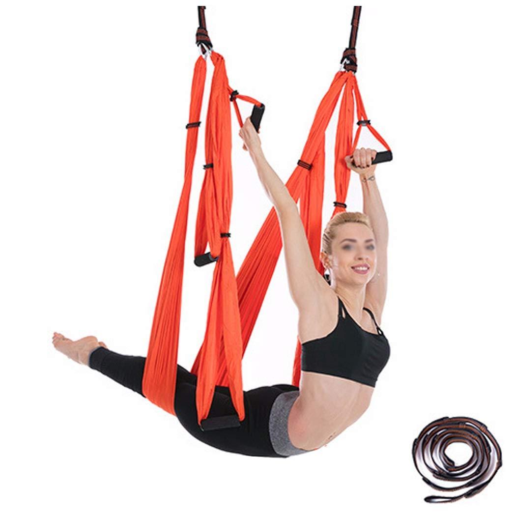 Orange HUIFEI Dame Aérienne Yoga Hamac 6 Anneau avec Rallonge Sangle Fitness Ceinture Stretch Parachute en Tissu