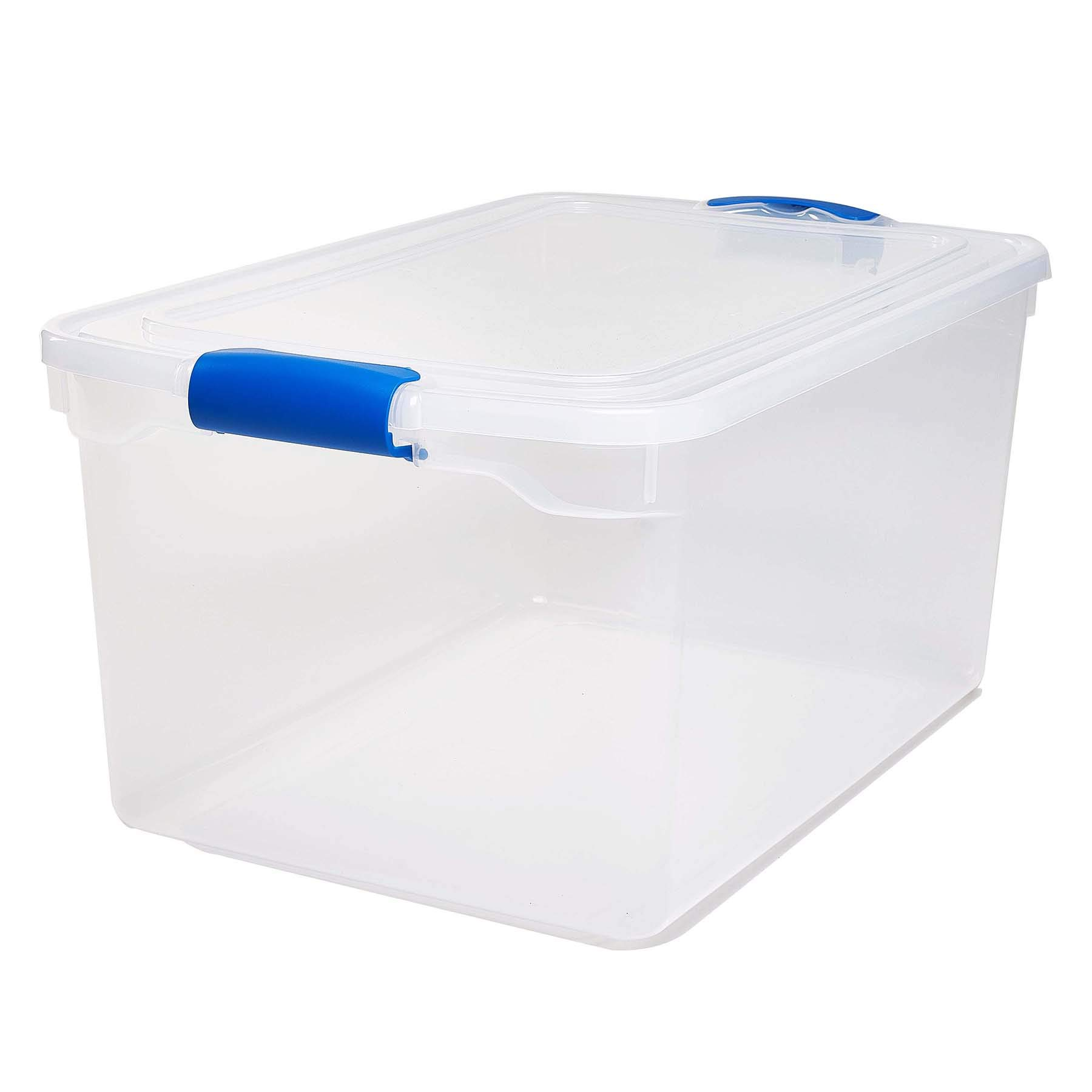 Homz Plastic Storage, Modular Stackable Storage Bins with Blue Latching Handles, 66 Quart, Clear, 2-Pack by Homz