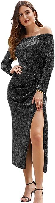 Women Metallic Sparkling Glitter Off Shoulder Evening Dress