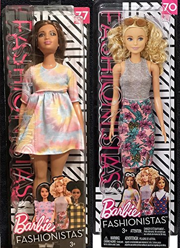 Fashionistas Barbie Doll 2 Pack #70 Pineapple Pop Dress + Barbie to Tie Dye for Fashion Doll #77 with Sunglasses Fashion Original with Accessory - Glasses Curly