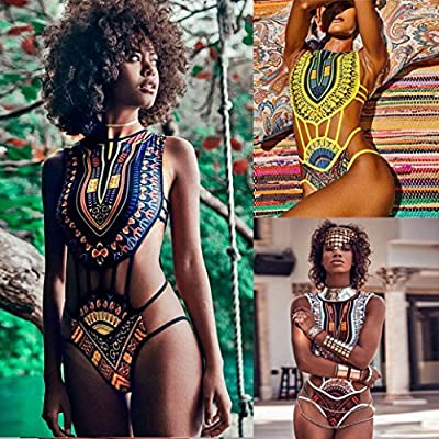 Wondere African Print Bikini Set, Women One Piece Sexy Bandage Push-Up Padded Bra Swimsuit Beachwear