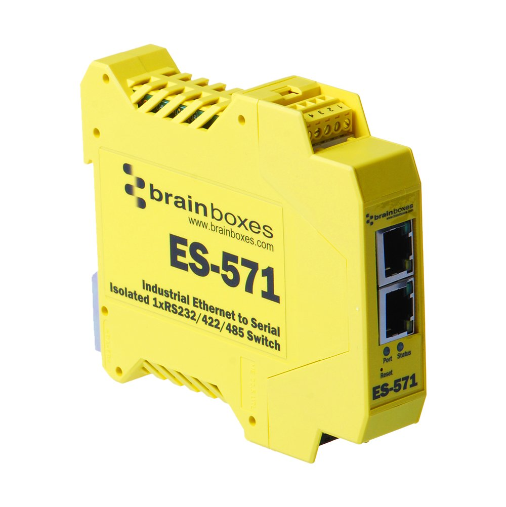 Brainboxes - Device Server - 10MB LAN, 100MB LAN, RS-232, RS-422, RS-485 (ES-571) by Brainboxes