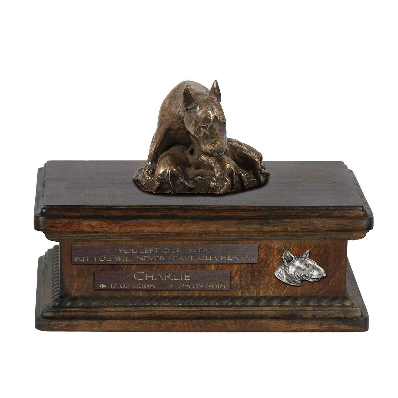 Bull Terrier mama 2, Urn for Dog Ashes Memorial with Statue, Pet's Name and Quote ArtDog Personalized