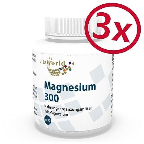 Pack de 3 Magnesio 300mg 3 x 150 Comprimidos - Vita World Producción Farmacia Alemania