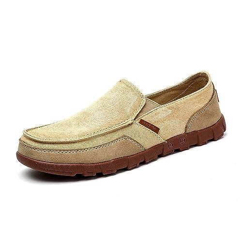 c2e92d945f0a1 Vilocy Homme Confort Toile Caleçon sur Chaussures Décontractée Conduite  Flâneur Appartements Bateau Mocassins Baskets Lumière Tan