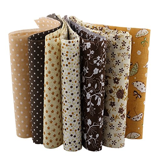 10X50CM 7pcs Coffee Series Cotton Fabric Strips Jelly Roll Fabrics For Patchwork DIY Handmade Crafts