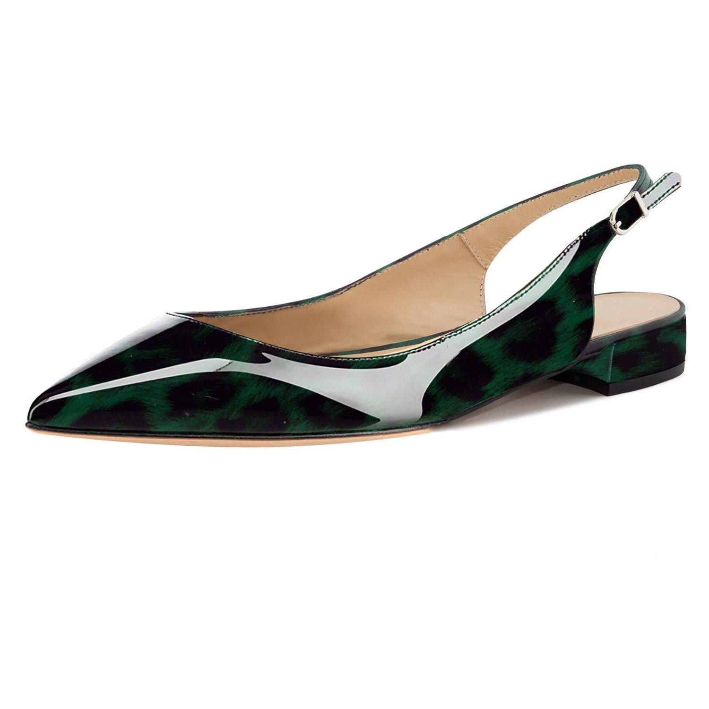 Eldof Women Low Heels Pumps | Pointed Toe Slingback Flat Pumps | 2cm Classic Elegante Court Shoes B07CG9VXP6 9.5 B(M) US|Leopard Green
