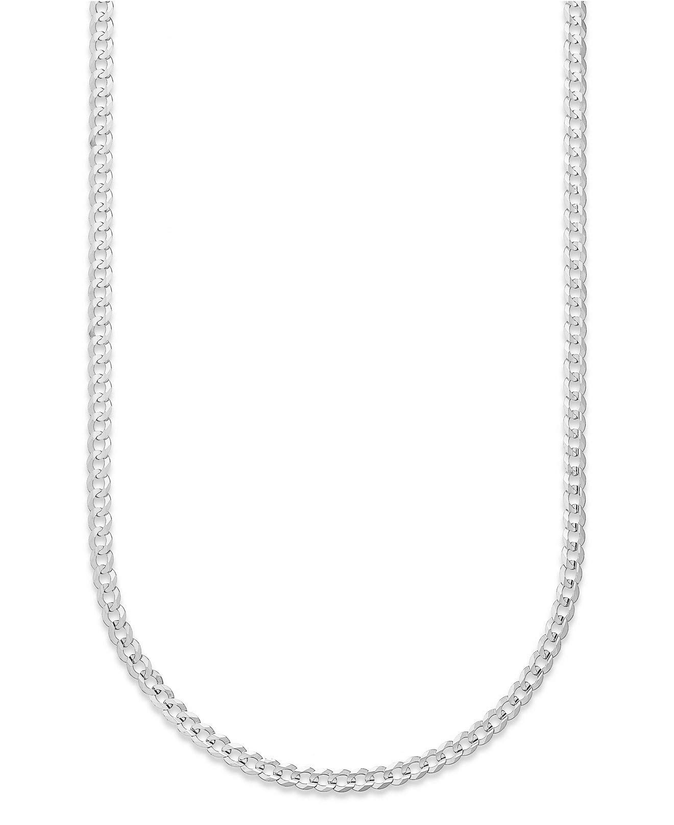 14K Gold 3.5MM Cuban/Curb Link Chain Necklace- Made in Italy- Multiple Lengths available-Yellow, White Or Rose Gold (White, 22)