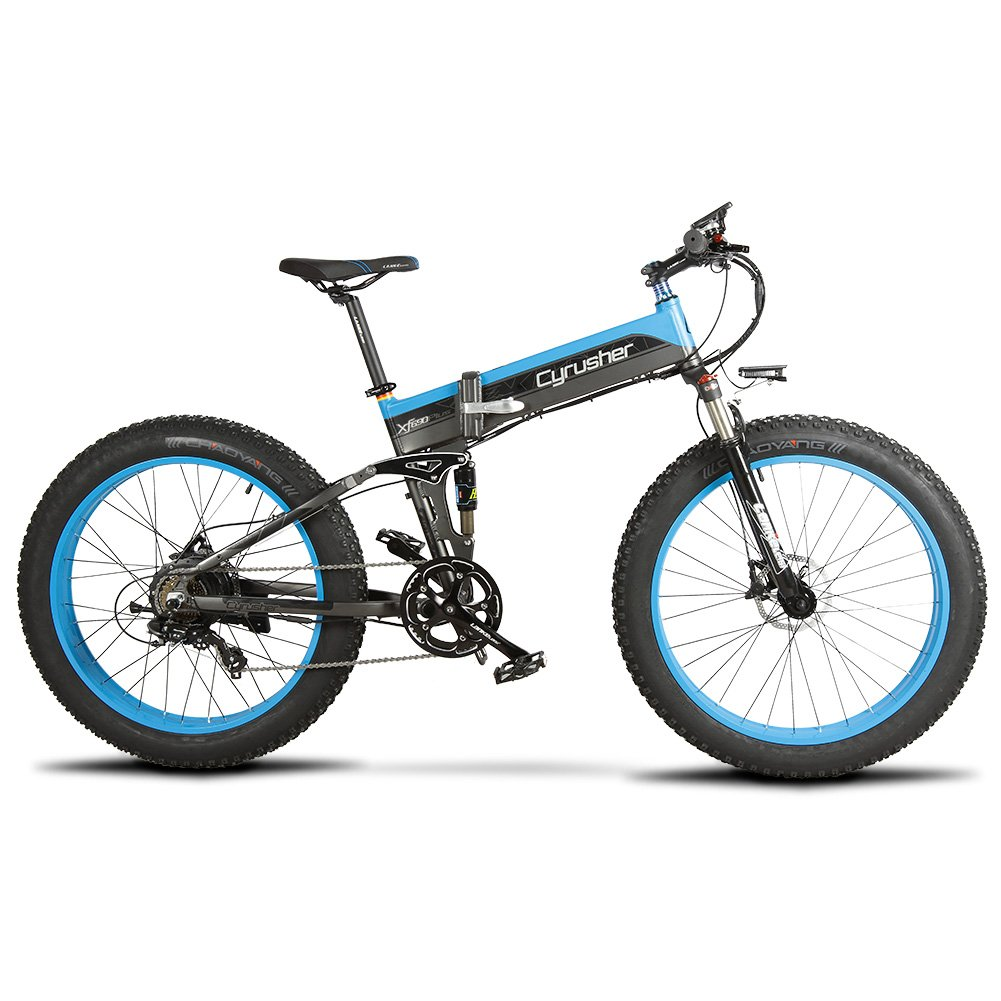 Cyrusher XF690 アシスト自転車 FATBIKE ファットバイク 折りたたみ スノーバイク シマノ7段変速 500W / 48V スピード計付属 B07KY6K7SV 青 青