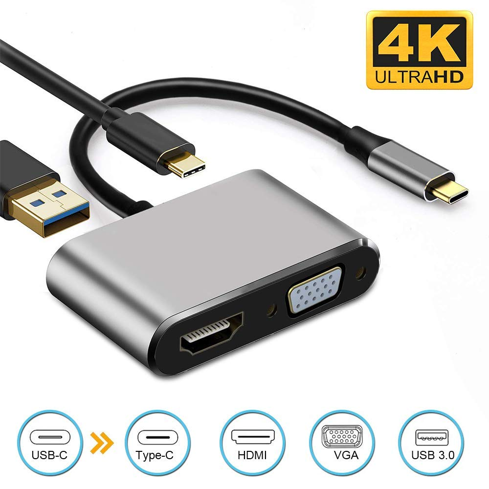 RCA USB C to HDMI VGA Adapter Chromebook and more USB Type-C Devices 1080P VGA USB 3.0 Compatible with MacBook Pro USB Type-C Hub with 4K HDMI