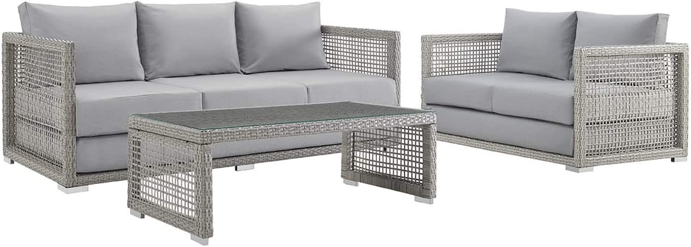 Modway EEI-3598-GRY-GRY-SET Aura 3 Piece Outdoor Patio Wicker Rattan Set Gray, Loveseat, Sofa and Coffee Table