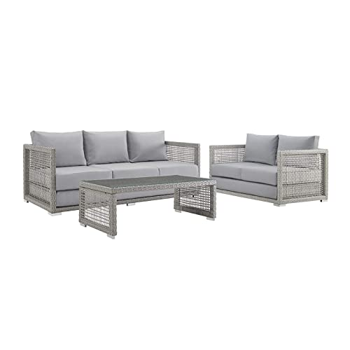 Modway EEI-3598-GRY-GRY-SET Aura Outdoor Patio Wicker Rattan, Sofa, Loveseat and Coffee Table, Gray Gray