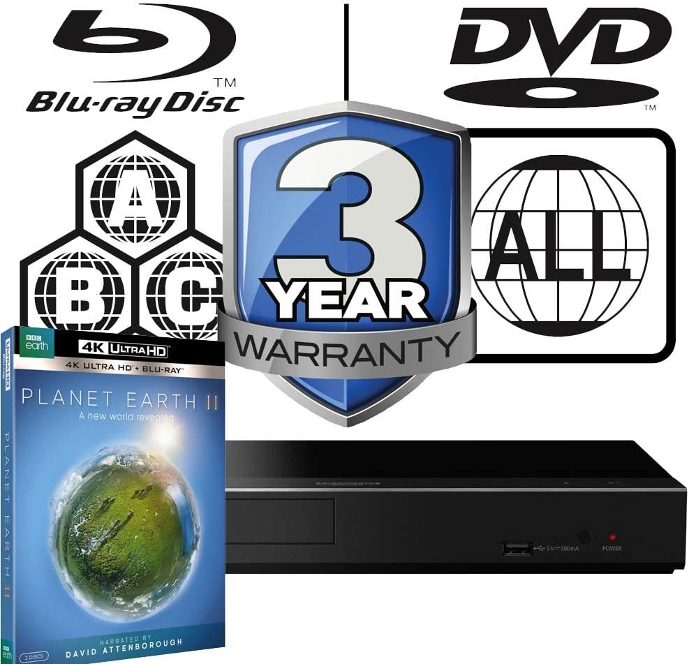 Panasonic DP-UB450 MULTIREGION Blu-ray Player Bundle with Planet Earth 2 Ultra HD 4K Blu-ray Disc