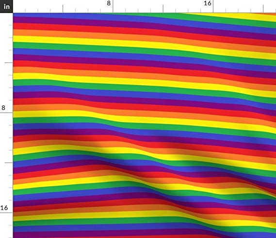 Spoonflower Fabric Rainbow Pride Stripe Vertical LGBT Gay Colorful Printed on Basketweave Cotton Canvas Fabric by The Yard Upholstery Home Decor Bottomweight Apparel