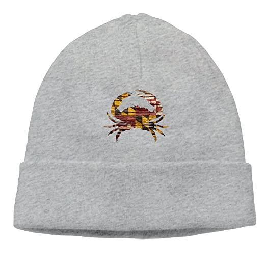 4004bf913ac Kkidj Ooii Beanies Hat Knit Cap Men s Slouchy Lovely Crab Maryland Flag  Winter