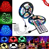 LED Strip Light 16.4ft RGB SMD LED Rope Lighting Color Changing Full Kit with 44-Keys IR Remote Controller LED Lighting Strips for Home Kitchen Christmas Indoor Decoration (10M)