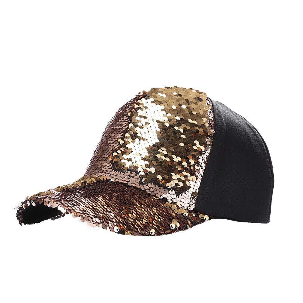 JPOQW Men Women Hats Double Color Mermaid Sequins DIY Adjustable Baseball Cap (Gold A)