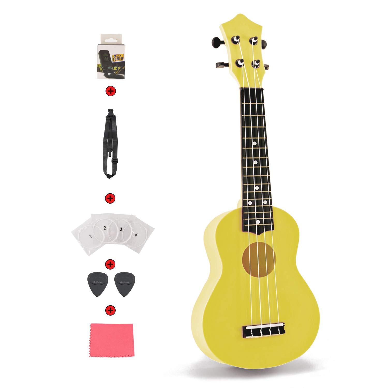 Plastic Guitar Set 21 inch Toy Ukulele for Toddler Kids Children Students First Ukulele Set for Learner Beginner Perfect Ukulele Gift with Strap Nylon String Tuner Guitar Picks Ukulele Strings Yellow