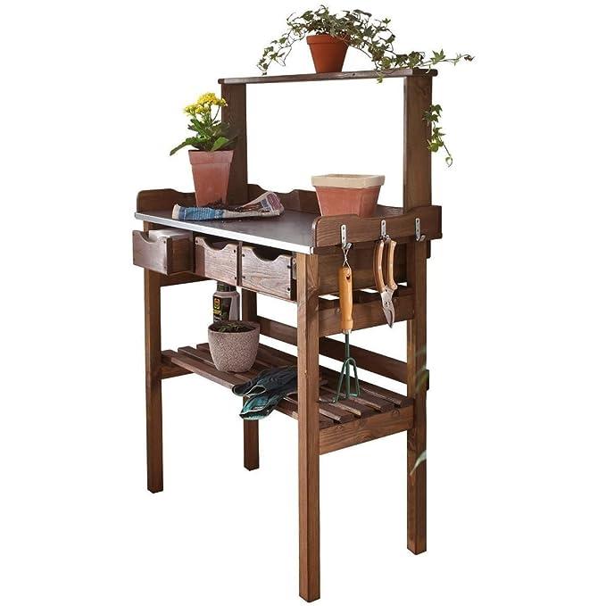 3 opinioni per PureDay- Tavolino da esterni in legno, per piante, colore marrone