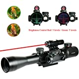 WhaleStone AR15 Scope 3-9x40mm Hunting Mil-dot Red & Green Illuminated Tactical Rifle Scope with Holographic Dot Sight and Red Laser
