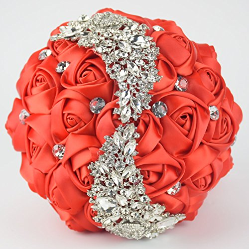 Ziye Shop Handmade Romantic Diamond Pearl Rhinestone Brooch Bridal Artificial Wedding Bouquet of Flower (Red)