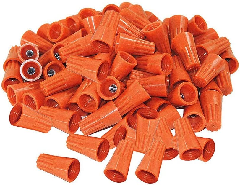 Liyafy P1 Wire Connectors AWG Wire Nut Bulk with Spring Inserted Easy Screw On Electrical Caps Orange 500Pcs