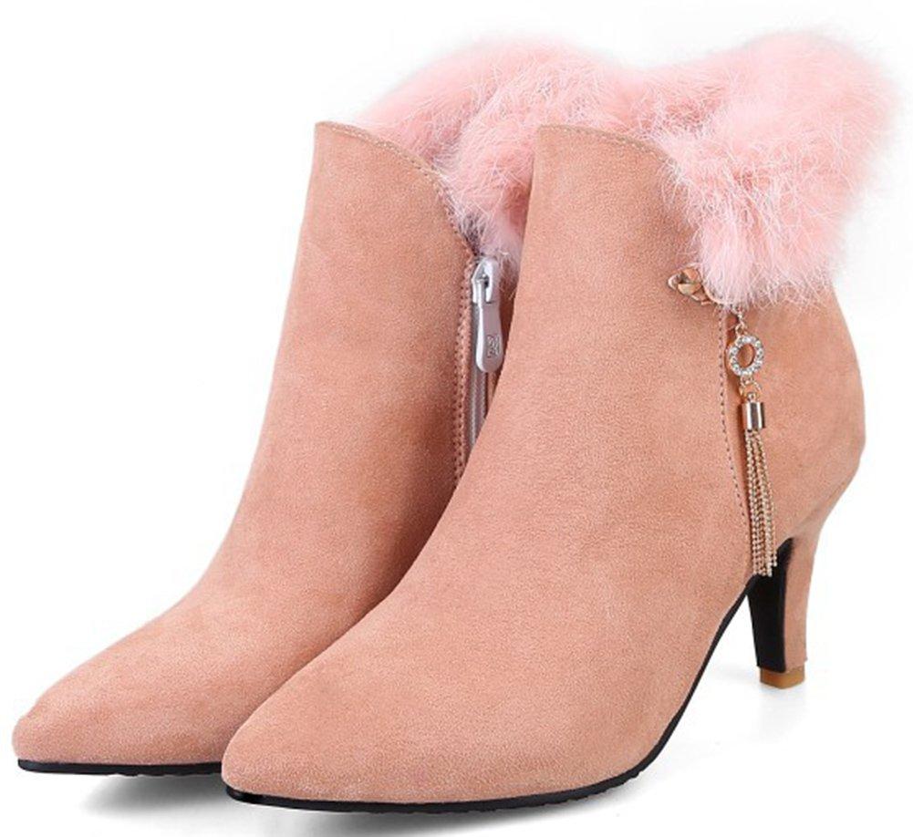 Aisun Damen Elegant Schnalle Strass Troddel Kunstfell Kitten Heel Kurzschaft Knöchelstiefel Pink 40 EU OYtU3q