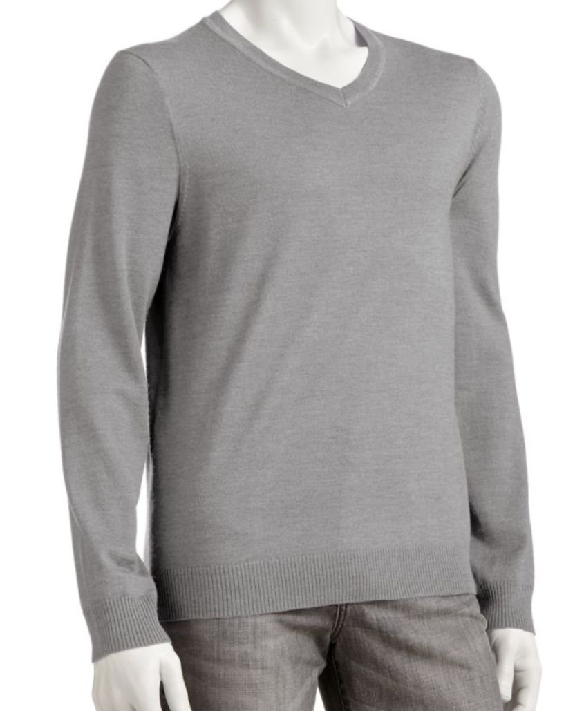 Marc Anthony Mens Slim Fit Cotton Cashmere V-Neck Sweater Big Tall 3XLT Grey
