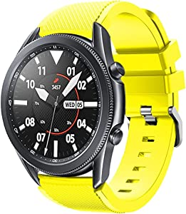 Bands for Samsung Gear S3 Frontier / Classic Watch Silicone Bracelet, Sports Silicone Band Strap Replacement Wristband For Samsung Gear S3 Frontier / S3 Classic/Galaxy Watch 46mm (Yellow)