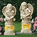 Collections Cherub Angel with Pets Solar Memorial Stones Garden Statues