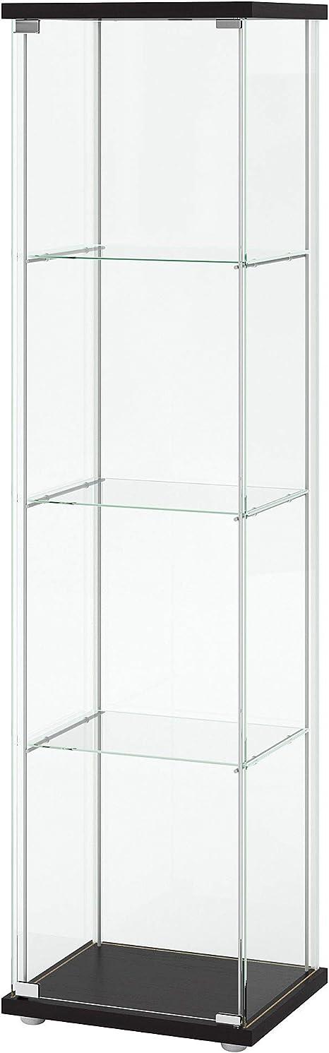 Ikea Detolf - Vitrina de cristal para pantalla curiosa, color negro, con cerradura, se incluye cerradura