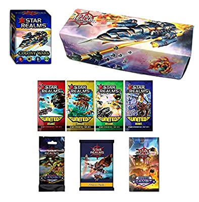 Star Realms Deck Building Game 9 Piece Bundle: Star Realms Colony Wars + United Set + Cosmic Gambit Set + Gambit Set + Promo Pack 1 + Card Box