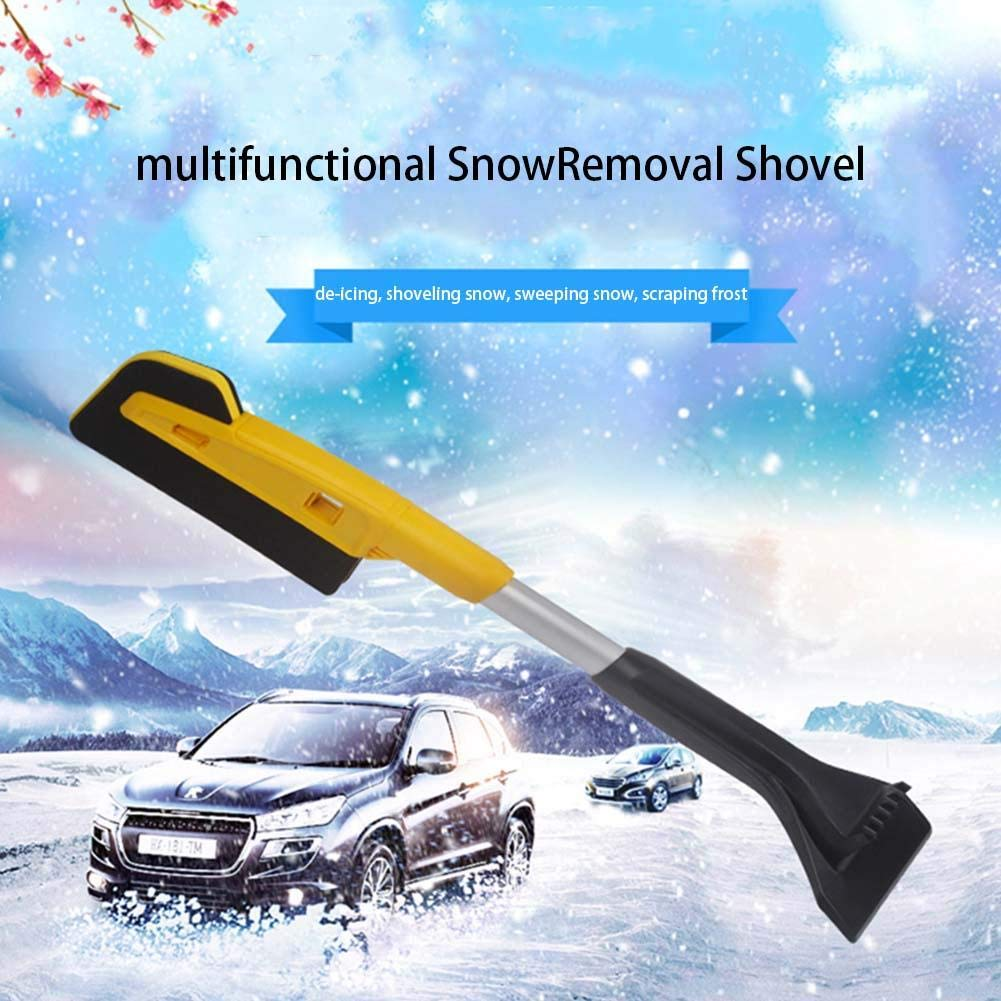 Scratch-Free Snow Brush, Multifunctional Snow Removal Shovel Car Glass Scraping Brush Ice Scraper for Car with EVA Cotton Foam Grip blue--net