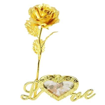 Forever Rose 24 K Gold Foil Rosa Artificiale Fiore Con