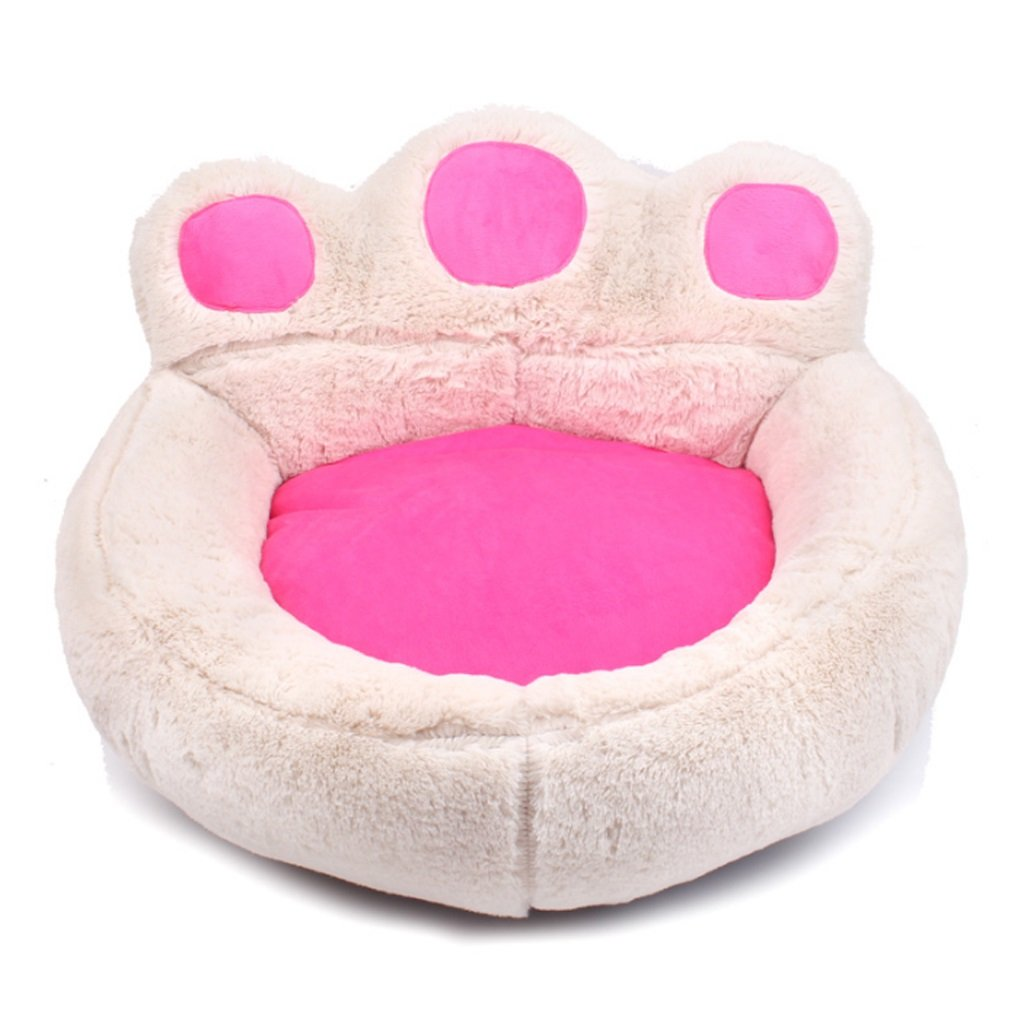 Beige S Beige S YJLGRYF Pet Bed Dog Bed Small And Soft Plush Sofa Pet Sofa Usage Cute Bear Paw Design Pet House (color   Beige, Size   S)