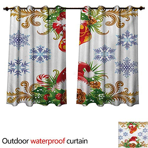 (WilliamsDecor Christmas Outdoor Curtains for Patio Sheer Classical Traditional Design with Stocking and Santa Claus Hat Mistletoe Snowflakes W63 x L72(160cm x)