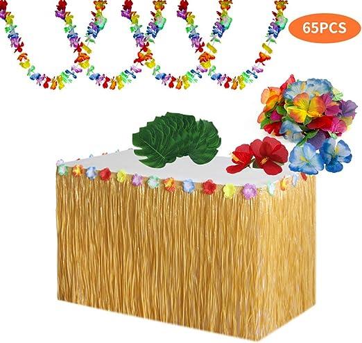 Juego de decoración Floral Tropical, Falda de Mesa Hawaiana, Hojas ...