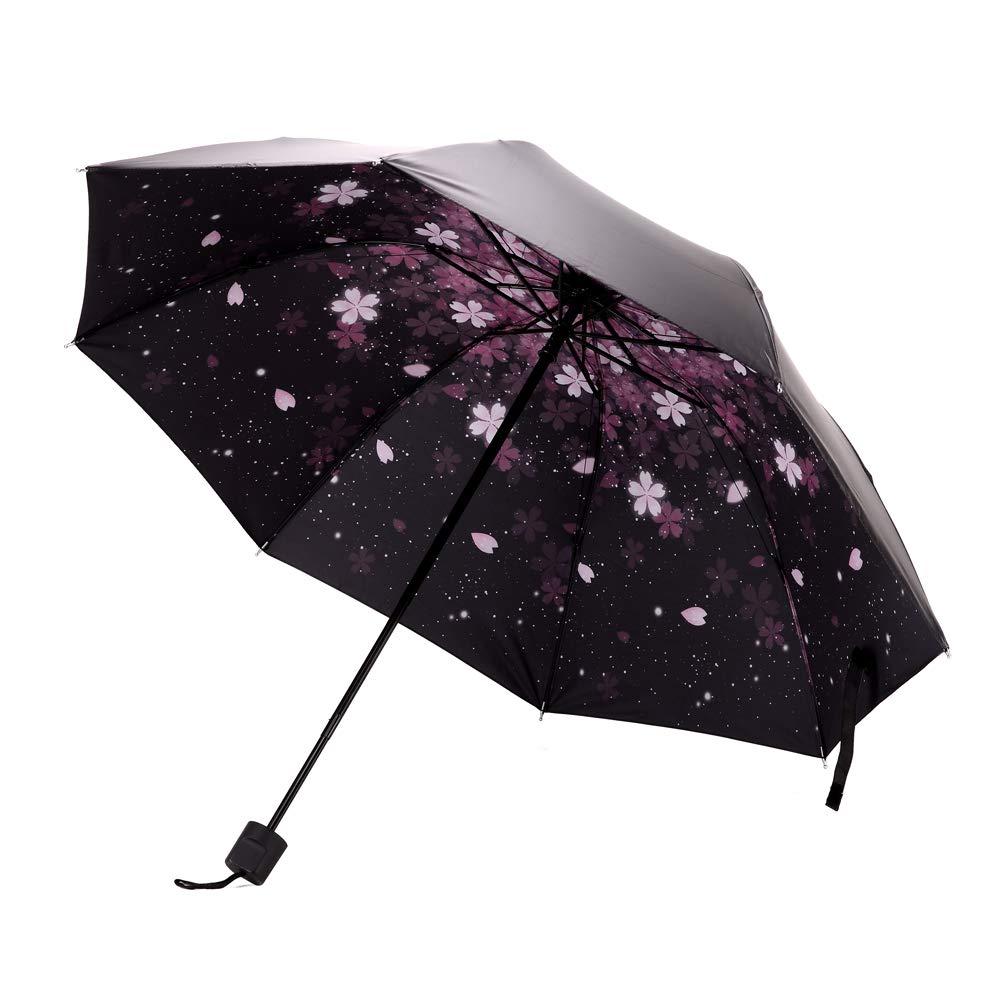 Xiuying Feng Travel Compact Umbrella Windproof Sun & Rain Umbrella Ultra Light Parasol (Cherry)