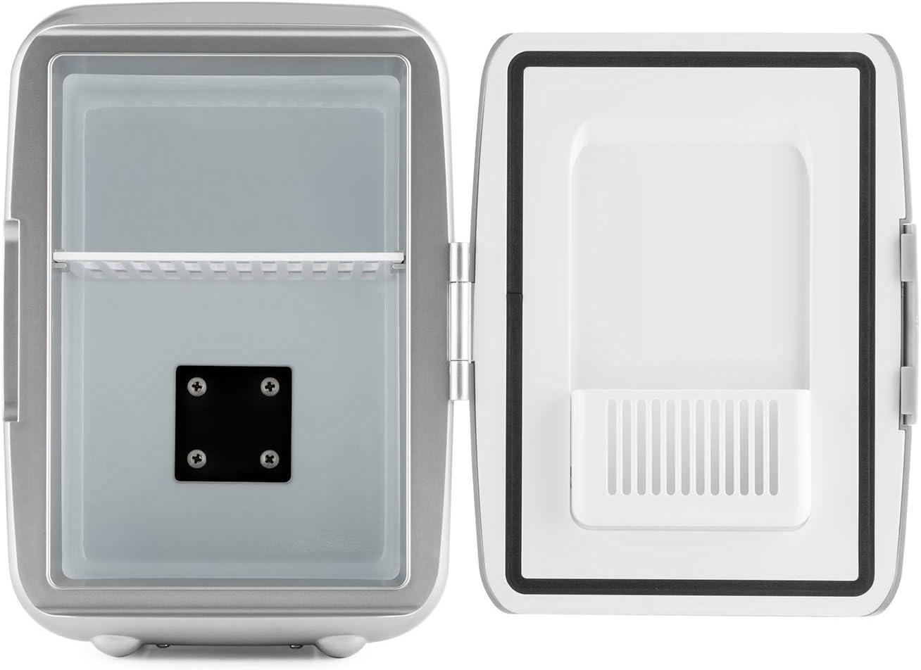 Oneconcept Picknicker Mini Termo Frio Calor (Mini Nevera térmica, Volumen de 4 litros, Certificado eMark, Liviana y asa Plegable, AC, DC, Auto) - Plata Plata