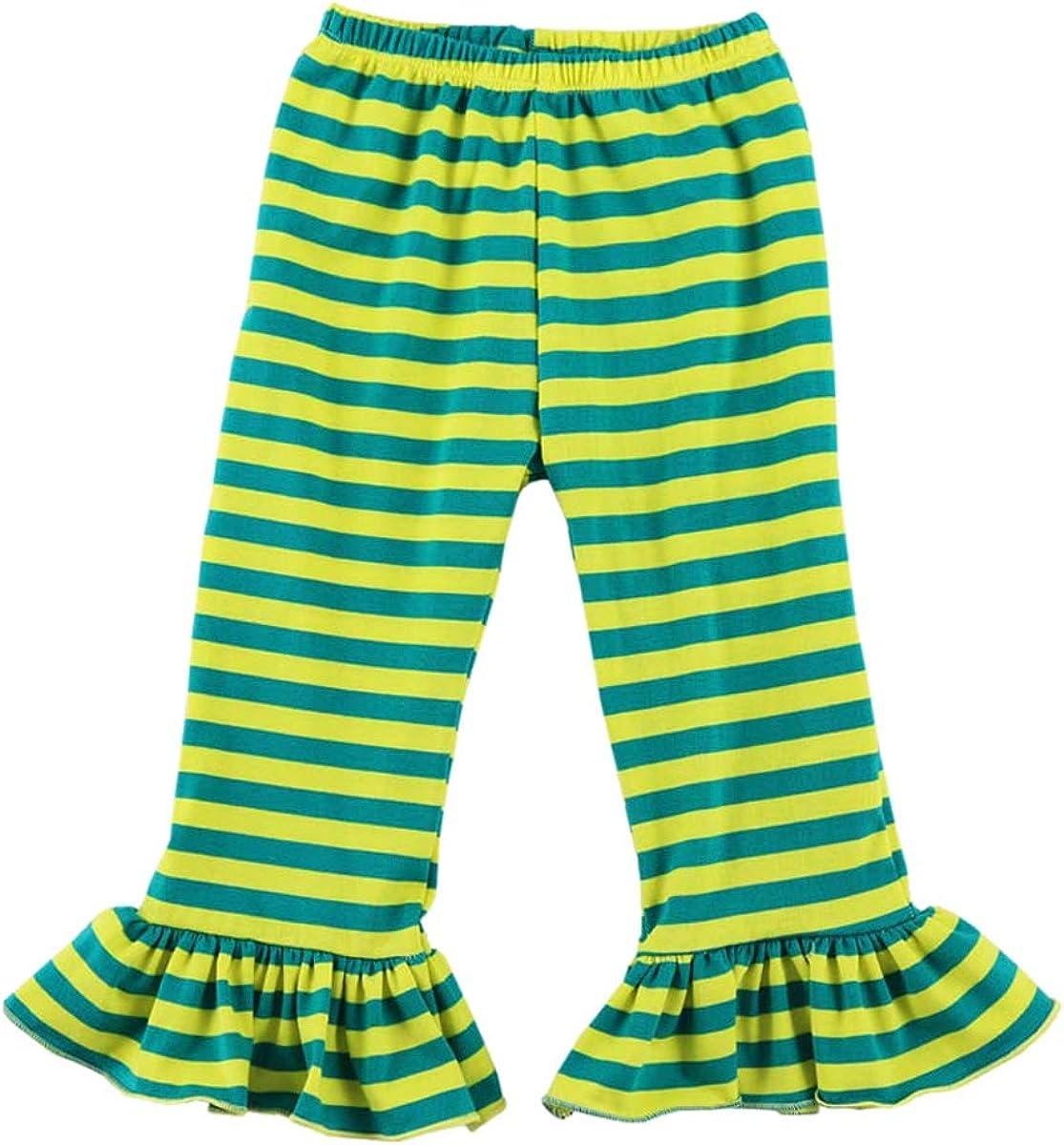 Wennikids Childrens Little Girls Ruffle Soft Cotton Flare Pants