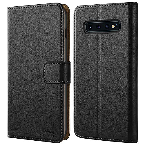 HOOMIL Case Compatible with Samsung Galaxy S10, Premium Leather Flip Wallet Phone Case for Samsung Galaxy S10 Cover (Black)