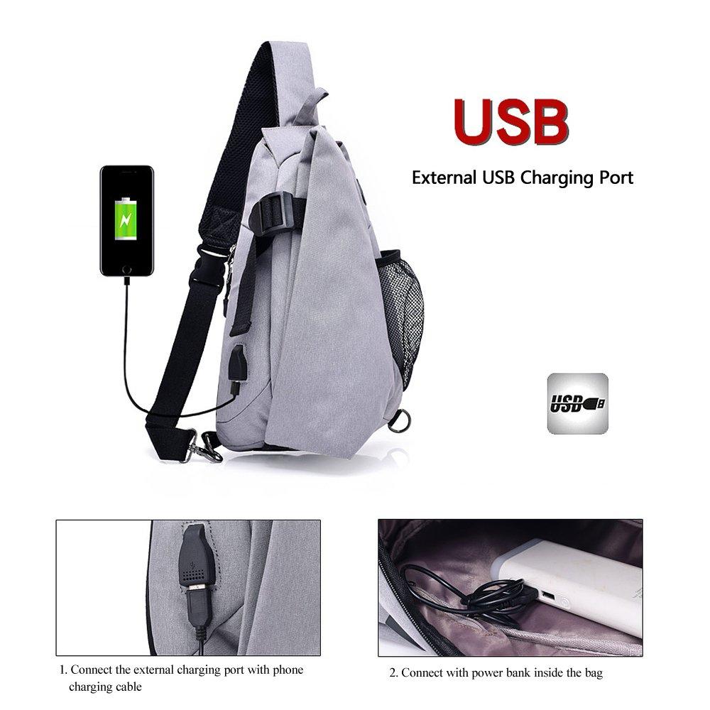 a211b5587f Qutool Canvas Messenger Walk Anti-theft Sling Bag Chest Shoulder Backpack Crossbody  Bags for Men