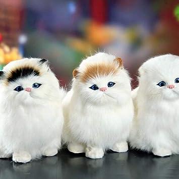 Amazon.es: 5 Colores Animales domésticos Gatos Muñecas Simulación Animal Juguete Gato Meowth Niños Mascota Linda Juguete de Peluche Modelo Adornos Regalo ...