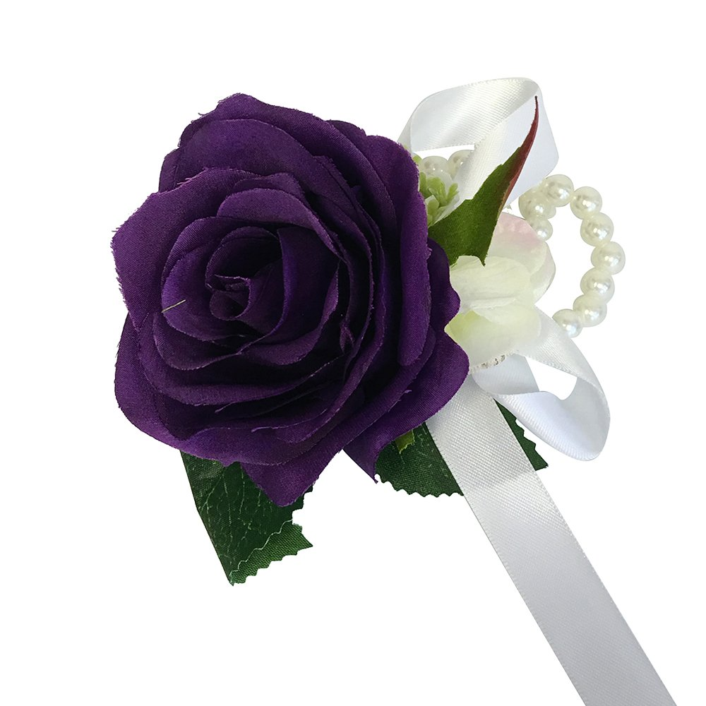 Wrist-Corsage-with-pearl-wristband-artificial-roses-hydrangea-purple