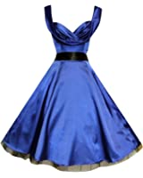 Glamorous 1950's Vintage Style Blue Silky Sweetheart Full Circle Party Prom Cocktail Dress